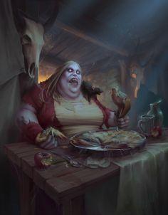 Banquet of the Damned by Raluca Marinescu : ImaginaryMonsters Fantasy Monster, Monster Art, Arte Horror, Horror Art, Dark Fantasy Art, Fantasy Artwork, Creepy Horror, Arte Obscura, Wow Art