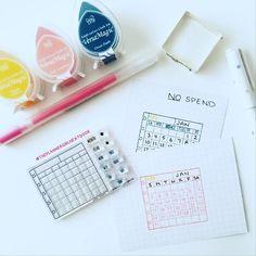 Created No-Spend calendars using my @atelierdreams mini calendar stamps!