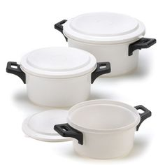 Set of White Microwave Cooking Pots. Starting at $12