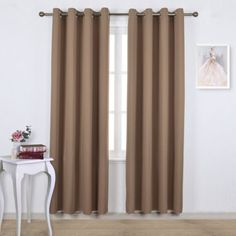 Nicetown Three Pass Microfiber Noise Reducing Thermal Insulated Solid Ring  Top Blackout Window Curtains / Drapes (Two X 84 Inch,Gray)