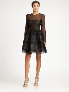 bury me in this - Oscar de la Renta Sheer Lace Cocktail Dress