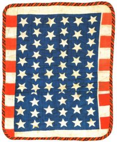 Quiltsy: October 2008, Stars and Stripes, c. 1876, cottons, pieced, 12.5 x 15.5 inches. Thelma Moore-Morris Doll Quilt Collection.