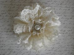 lace flower hair clip by Yuliyasboutique on Etsy, $8.00
