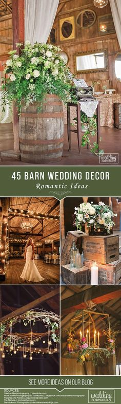 45 Romantic Barn Wedding Decorations ❤️ Create a romantic barn wedding decorations, spend some money for certains in rustic style, pay attention to lightening and of course use straw bale seating. Barn Wedding Decorations, Garland Wedding, Wedding Themes, Wedding Colors, Wedding Bells, Wedding Ideas, Rustic Wedding Photos, Rustic Wedding Flowers, Boho Wedding