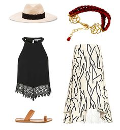 Bracelet in Silver and Coral by Loredana Corbo, topshop crop top, Eugenia Kim Hat, Ancient Greek Sandals, Tibi Silk Singlet. #look #dress #skirt #shoes #colours #cupcakes #cap #jewels #bellissimo1861 #red #blackandwhite #bracelet