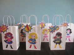 Girl Superhero Favor Superhero Goody bags,Superhero Birthday,Girl superhero party,Girl Superhero Birthday,Superhero Gift Bags Niña superhéroe Favor bolsas 10 niña superhéroe p or BehindTheTheme Superhero Favors, Girl Superhero Party, Girls Party, Wonder Woman Birthday, Wonder Woman Party, Birthday Woman, Fete Emma, Festa Frozen Fever, Super Girls