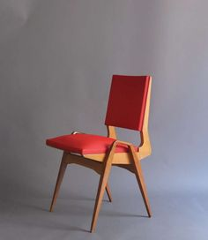DINING CHAIR_Set of 6 French 1950's Chairs | From a unique collection of antique and modern dining room chairs at https://www.1stdibs.com/furniture/seating/dining-room-chairs/
