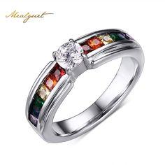 Meaeguet hermosos anillos de bodas de cristal anillo de color arco iris con circón de cristal austriaco arco iris de acero inoxidable anillos de la joyería