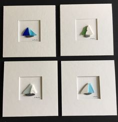 Sea glass sailboat miniature matted pebble art by sharon nowlan Sea Glass Crafts, Sea Crafts, Seashell Crafts, Sea Glass Mosaic, Sea Glass Art, Sailboat Art, Pebble Pictures, Seaside Decor, Rock And Pebbles