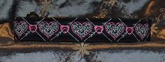 "Pet Necklace ""Hearts"" Design Dog Collar in Black with Pink, Black and White Thread"