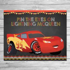 Disney Cars Pin the Tail Game Lightning McQueen - Chalkboard - Cars Party Game - Cars Birthday Party Pin Game - Printable Party Game Cars Disney Cars Games, Disney Cars Party, Lightning Mcqueen, Cadillac, Auto Party, Car Party, Impala Car, Cars Birthday Parties, Disney Cars