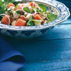 Ricardo's recipe : Watermelon and Feta Salad Ricardo Recipe, Watermelon And Feta, Feta Salad, Cold Meals, Balsamic Vinegar, Cantaloupe, Serving Bowls, Good Food, Pumpkin
