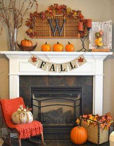 Fall Fireplace Decor, Fall Mantel Decorations, Decoration Table, Mantel Ideas, Wedding Decorations, Fireplace Ideas, Thanksgiving Decorations, Harvest Decorations, Diy Thanksgiving