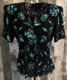 Vintage Stenay Sequin Beaded Top Blouse 100% Silk Black Teal Size Small #Stenay #BeadedTop