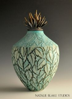 Sophisticated and elegant ~ leave sgraffito carved ceramic memorial urn glazed in turquoise ~