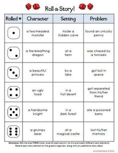 Work on Writing - Roll-A-Story Freebie! Check out this clever literacy dice game from Kristin Jordan at Reading Writing Thinking Sharing. Work On Writing, Writing Workshop, Teaching Writing, Teaching English, Writing Games For Kids, Writing Practice, Creative Writing For Kids, Writing Ideas, Fun Writing Activities
