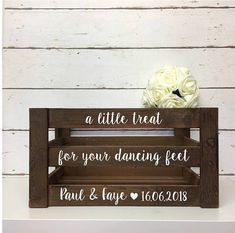 A Little Treat For Your Dancing Feet Personalised Wedding Wooden Crate Box Slippers Flip Flops Rustic Gifts And Cards