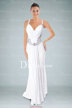 Fashionable White Sheath Evening Gown Accented with Beaded Motifs and Delicate Ruches
