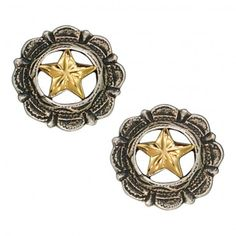 Silver Antiqued Star Concho Button Earrings (ER1079) - Jewelry - Jewelry & Gifts | Montana Silversmiths