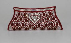 Beads & Stones Embroidered Maroon Bridal Clutch Purse | $45.00 | http://goodbells.com/purses-and-handbags/beads-stones-embroidered-maroon-bridal-clutch-purse.html