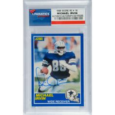 Michael Irvin Dallas Cowboys Autographed 1989 Score # 18 Rookie Card - Mounted Memories Certified - NFL Slabbed Autographed Rookie Cards - http://nfledge.net/michael-irvin-dallas-cowboys-autographed-1989-score-18-rookie-card-mounted-memories-certified-nfl-slabbed-autographed-rookie-cards/ - IRVIN, MICHAEL AUTO (1989 SCORE RC # 18) CARD – Mounted Memories Product Features  100% Certified Authentic and Backed by our Sports Memorabilia Authenticity Guarantee Comes with a C