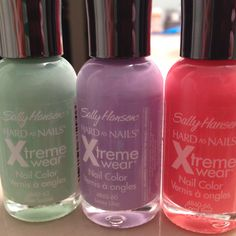 Hooray! Spring nail polishes! These are Mint Sorbet, Lacey Lilac, and Coral Reef by Sally Hansen. $2.50 apiece at Target. <3