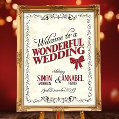 Order a unique Christmas wedding 'Welcome' sign Christmas Wedding Invitations, Unique Wedding Invitations, Party Invitations, Wedding Welcome Signs, Stationery, Winter Weddings, Frame, Color, Picture Frame