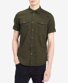 Calvin Klein Jeans Men's Roll-Up Slim Fit Shirt - Green 2XL