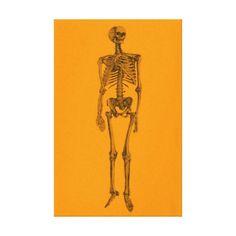 Orange Skeleton Skull Canvas Print