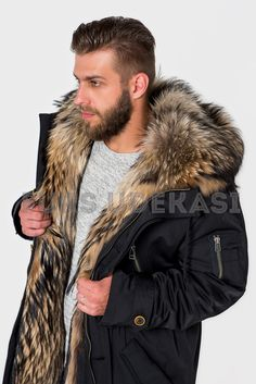The parka is black with raccoon fur Mode Masculine, Winter Fur Coats, Winter Jackets, Fur Fashion, Mens Fashion, Mens Fur, Stylish Mens Outfits, Winter Hoodies, Men's Coats And Jackets