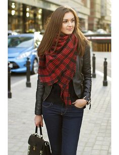 this is so me, even the long, thick light brown hair.  Classy England Style Red and Black Plaid All-matching Shawl