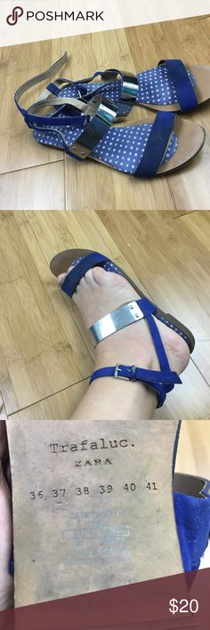 Well Worn sandals Zara Trafaluc blue silver 7 Very well worn sold as is see photos Trafaluc Shoes Sandals