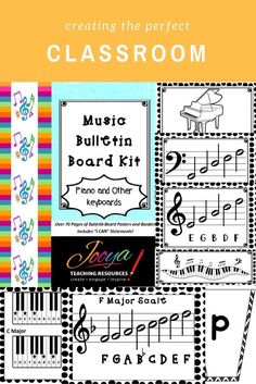 Inspire creativity and decorate your classroom your way with the Bulletin Board Kit The Piano and other Keyboards. Includes borders, alphabet bunting, large treble and bass clef posters, chord diagrams and scale posters.