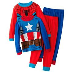 Captain America and Spider-Man Hero Team Up 4-pc. Pajama Set - Boys 4-10..danon would love these!
