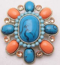 Vintage Silver Tone Oval Pin w/ Teal & Orange Stones 53mm 47mm 18.5g