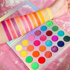 First 10 customers to purchase our Euphoria Glow Palette gets a FREE pair of lashes of their choice! High Pigment Eyeshadow, Neon Eyeshadow, Glitter Eyeshadow Palette, Eyeshadow Makeup, Makeup Brushes, Eyeliner, Glow Palette, Makeup Palette, Perfect Eyes