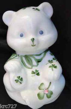 Fenton Glass White Satin Shamrock Bear. May have to keep him ???