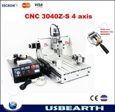 1249.00$  Watch now - http://ali45i.shopchina.info/go.php?t=1630487909 - 4 Axis CNC Machine 3040Z-S Engraving Machine CNC Drilling Milling Cutting Machine for wood, metal, aluminum etc  #magazineonlinewebsite