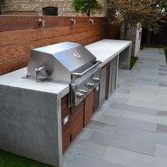 I like the idea of a barbeque bench with a built in barbeque, sink etc. I would like something behind the barbeque which isn't fence or greenery.
