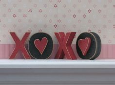 XOXO BLOCKS for valentines mantle  *** Like this idea but with a red/hot pink and light pink and glitter of course! ***
