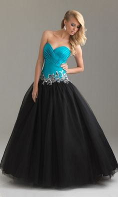 Black Ball Gown Sweetheart Long/Floor-length Dark Prom Dress PD2E2D at Dressmini.com