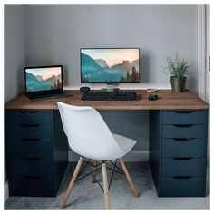 Home Office Setup, Home Office Space, Home Office Design, Best Office Desk, Office Desk With Hutch, Desk For Two, Home Office Table, Ikea Office, Office Chairs