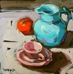 cathleen rehfeld • Daily Painting: The Blue Pitcher and Friends