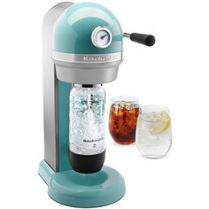KitchenAid KSS1121 Sparkling Beverage Maker Powered by SodaStream Soda... ($200) ❤ liked on Polyvore featuring home, kitchen & dining, small appliances, blue, kitchenaid, soda-maker, soda-machine, kitchen aid small appliances and kitchenaid small appliances
