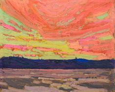Tom Thomson - Sunset - Canada, Canadian Oil Painting - Group of Seven Framed Art Print by ArtExpression - Vector Black - MEDIUM Canadian Painters, Canadian Artists, Klimt, Landscape Art, Landscape Paintings, Abstract Paintings, Oil Paintings, Painting Art, Abstract Art