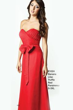 http://www.jalisbridal.com/full-collection/bridesmaid/m-e1024.html ... Strapless sweetheart neckline with a rouched bodice and slim A line skirt in chiffon, bow at the waist. ***This dress can also be special ordered in 13 additional colors: royal blue, claret, purple, turquoise, sky blue, red, black, pink, fuschia, burgundy, hunter green, charcoal, coral. Please call to place an order in these colors.  $137.00