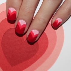 This multi-layered heart nail art is perfect for Valentine's Day.