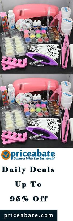 #priceabatedeals Pro Nail Art UV Gel Kits Tools Pink UV lamp Brush Tips Glue Acrylic Powder Set - Buy This Item Now For Only: $38.99