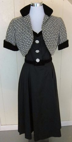 Vintage 1940's 50's Black Dress & Jacket Reich Original Stiff Shiny Fabric  #ReichOrignal