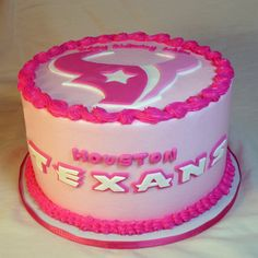 Pink Texans Cake: Buttercream frosted with fondant accents